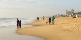 Elliot's Beach in southern Chennai, India.
