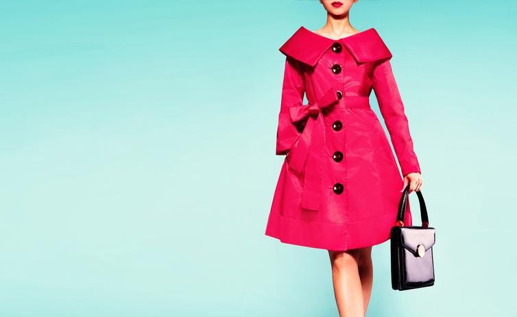 woman wearing red overcoat