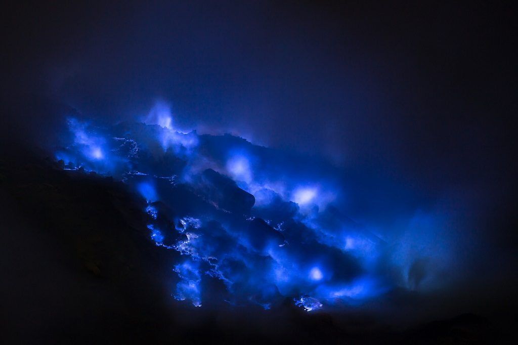 Blue sulfur flames, Kawah Ijen volcano, East Java