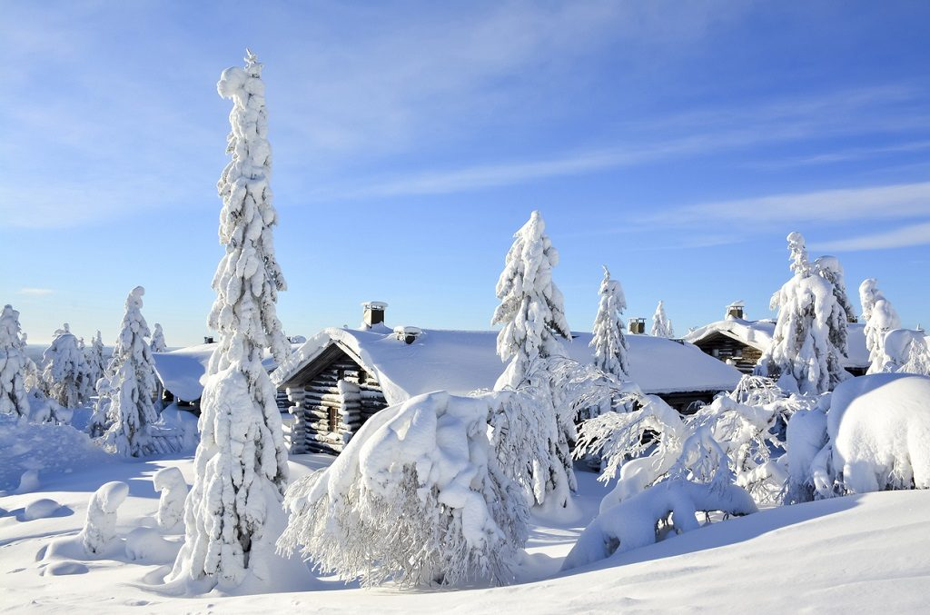Cottages on snowy mountain on a sunny cold winter day on tourist resort in Lapland Finland. Cottages and spruce trees are covered by heavy snow.