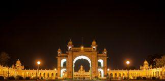 The beautifully lit Mysore Palace gates