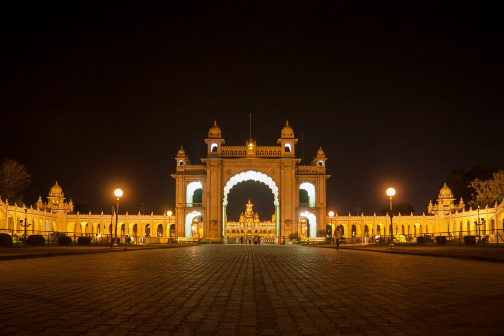 The beautifully lit Mysore Palace gates