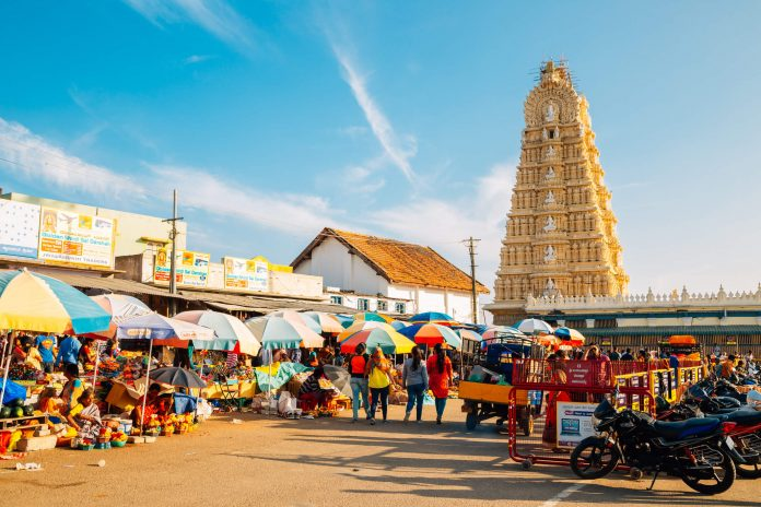 Sri Chamundeshwari Temple and street market in Mysore, India