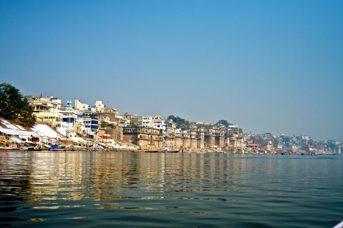 Varanasi, a religious city in India, situated on the banks of the River Ganga