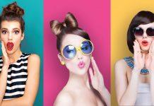 Three women in three different hairstyles