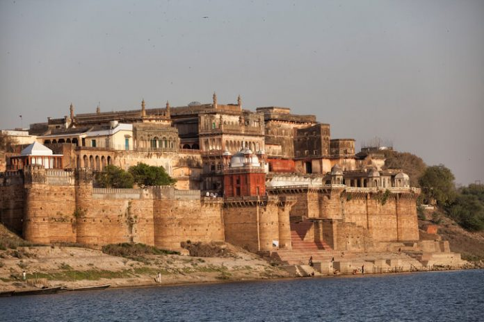 Ramnagar Fort in Varanasi as seen from outside