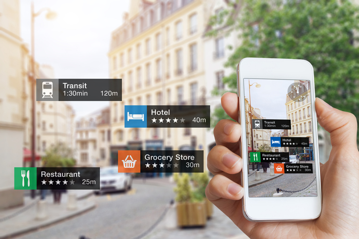 Augmented Reality (AR) information technology about nearby businesses and services on smartphone screen to guide customers