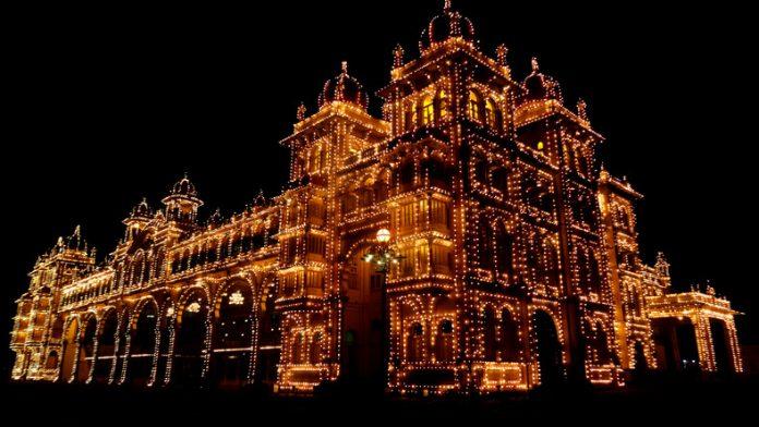 Mysore Palace lit up at night