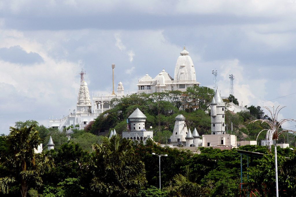 View of the Birla Mandir temple, places to see in Hyderabad,India