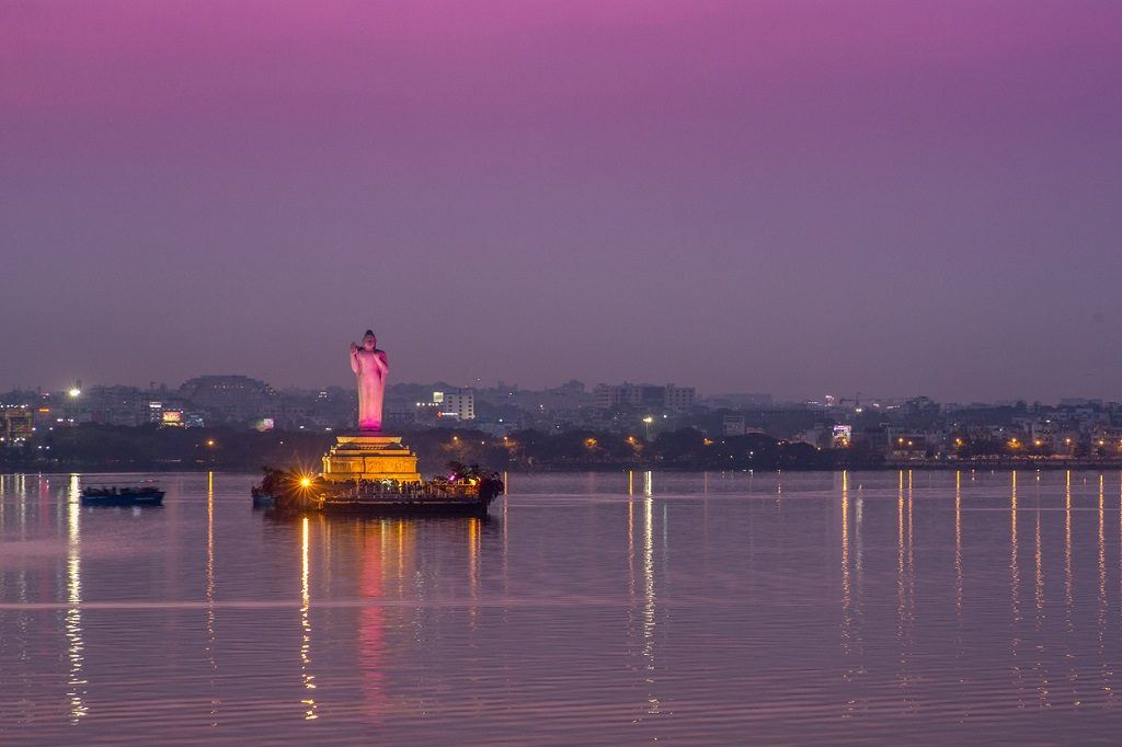 Hussain Sagar in Hyderabad, India.