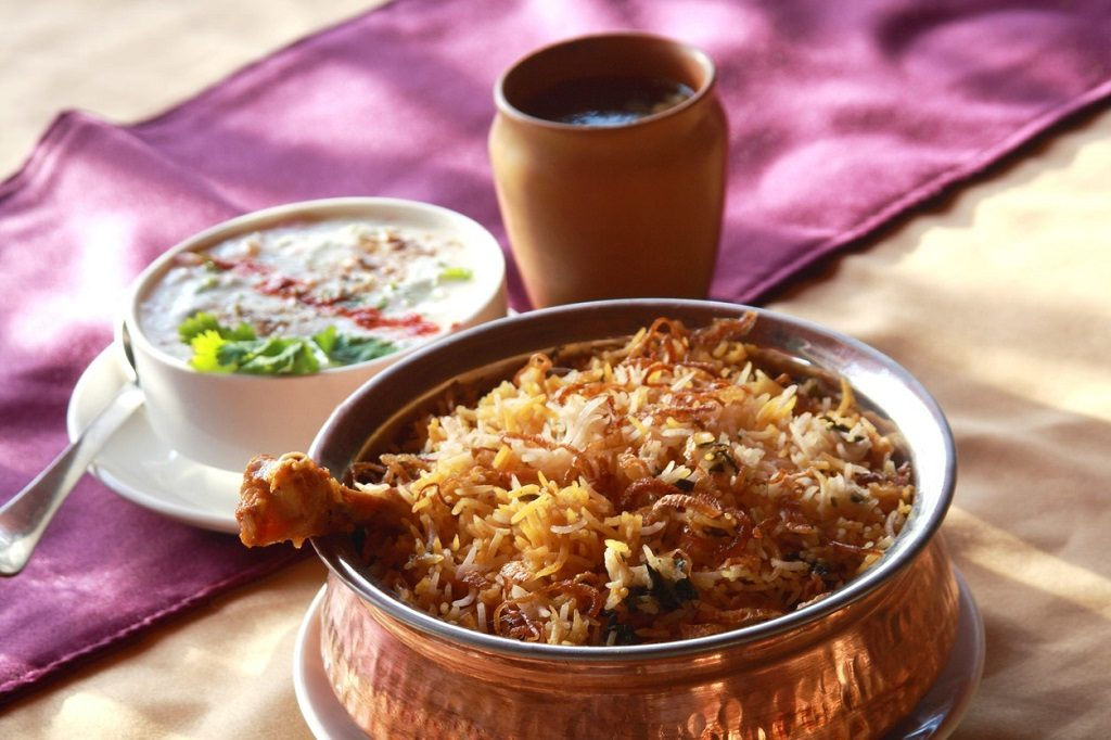 Hyderabadi Biryani - is perhaps the most well-known Non-Vegetarian culinary delights from the famous Hyderabad Cuisine. It is a traditional dish made using Basmati rice, goat meat and various other exotic spices.