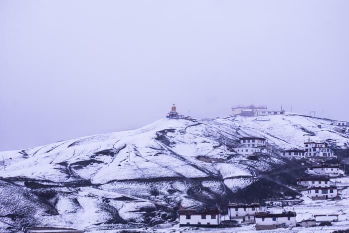 Snow covered Langza, Spiti, Himachal Pradesh
