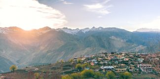 Sunrise over the mountains at Nako, Kinnaur