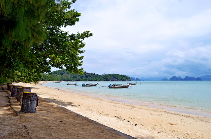 The Phang Nga Bay seen from Pa Sai beach at low tide on Yao Noi island, called Koh Yao Noi in Thai, Phang Nga province, Thailand.