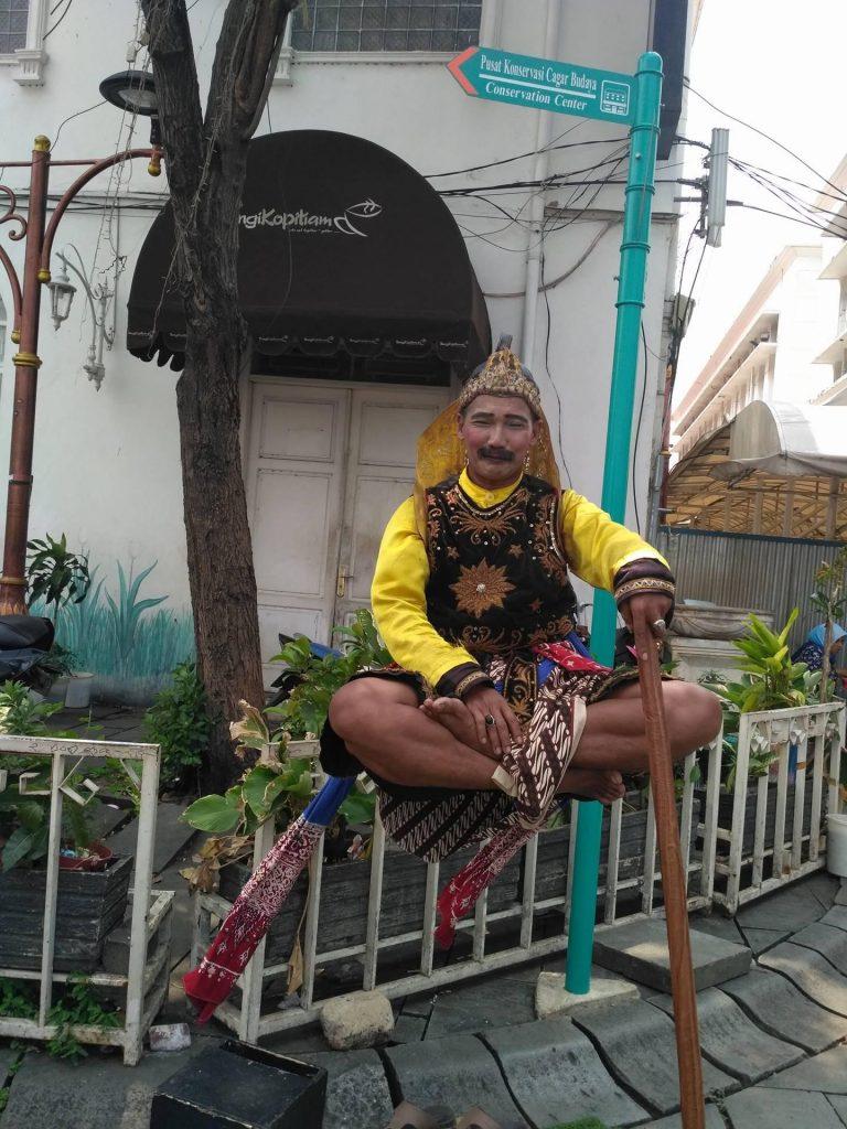 Street performer in Jakarta
