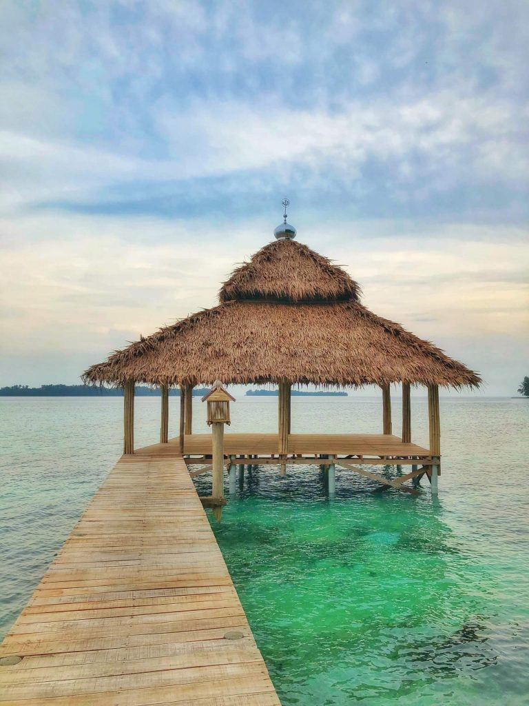 A hut on the pier of Pulau Macan (Tiger Island)