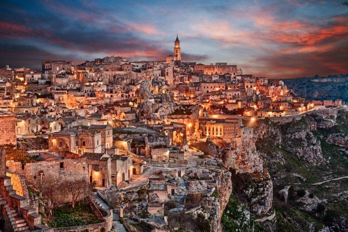 Matera, Basilicata, Italy: landscape at dawn of the old town (sassi di Matera),