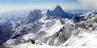 Mountaineers climbing Everest