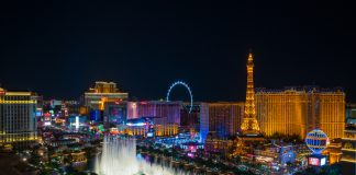 World famous Vegas Strip in Las Vegas, Nevada