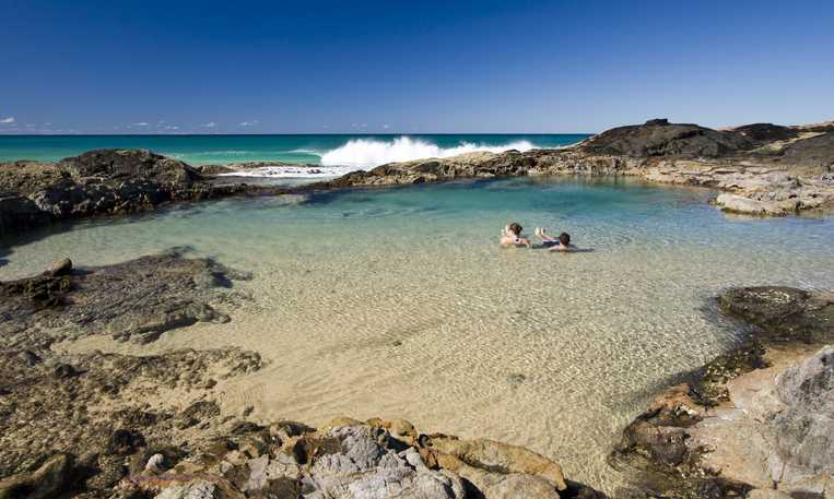 Champagne Pools on Fraser Island in Queensland.