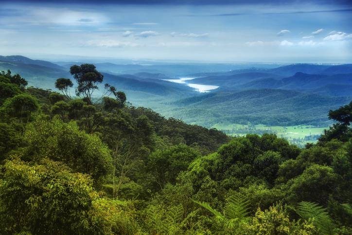 Views over Lamington National Park to Hinze Dam in Queensland's Gold Coast hinterland