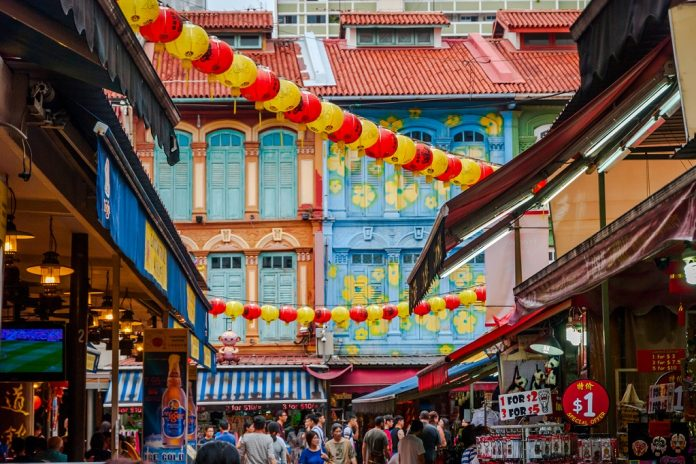 View on street in China town, Singapore