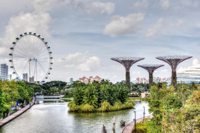 HDR rendering of Singapore at Marina Bay where the Singapore Flyer ferris wheel and Supertree Grove are iconic of the garden city, Peaceful Countries