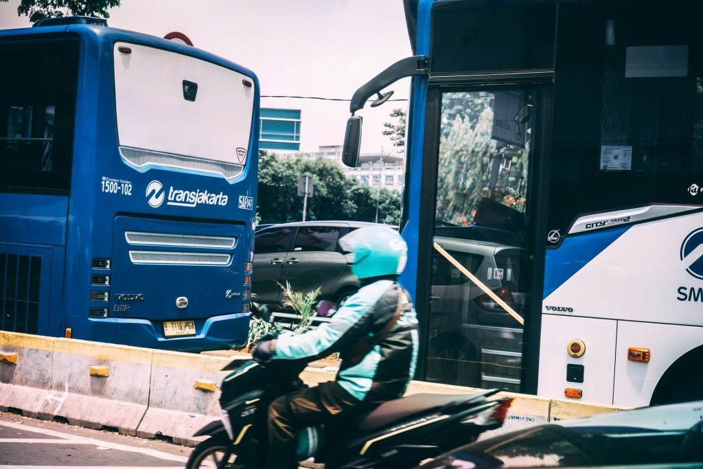 Buses and bikes in Jakarta