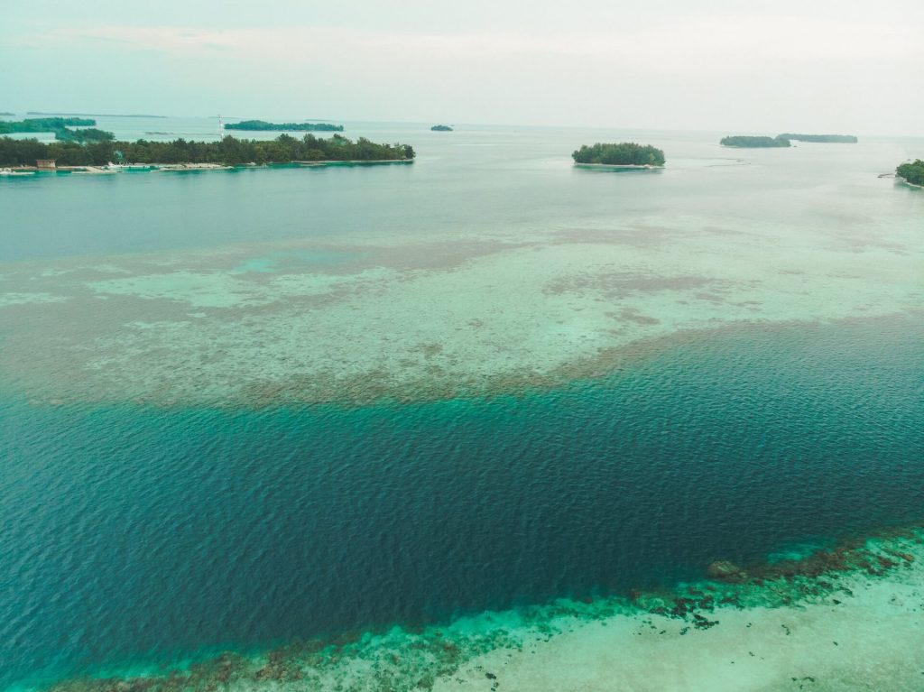 Drone shot of Jakarta's 1000 islands