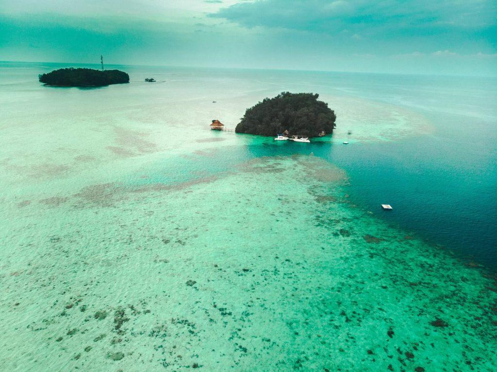 Drone shot of Pulau Makan Island, Jakarta