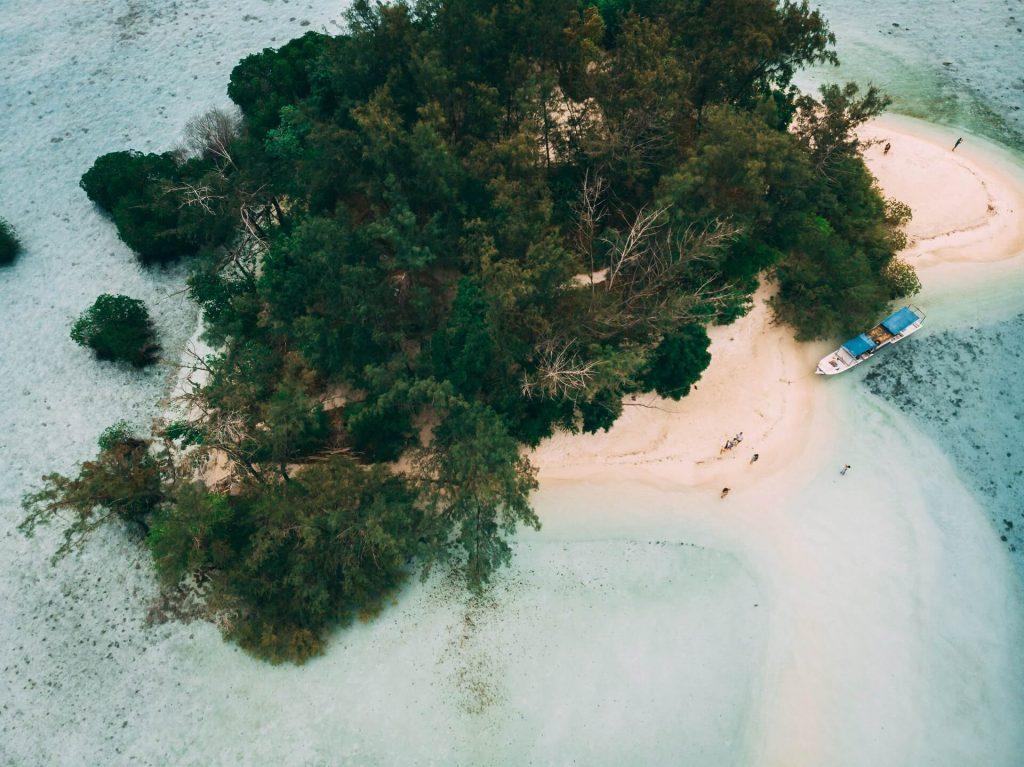 Drone shot of Pulau Macan Island