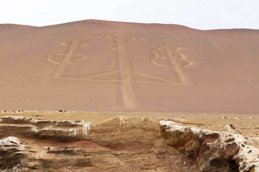 At the Paracas peninsula, the figure of the Candelabra, drawn on the side of a hill.