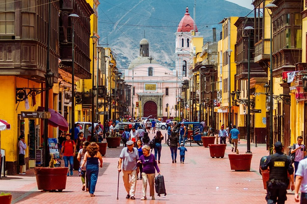 Lima, Peru - February 2, 2018: Daily image of passers-by strolling through the streets of Rimac, in the metropolitan area of Lima, Peru