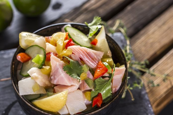 Seafood Ceviche with lemon Peruvian dishes