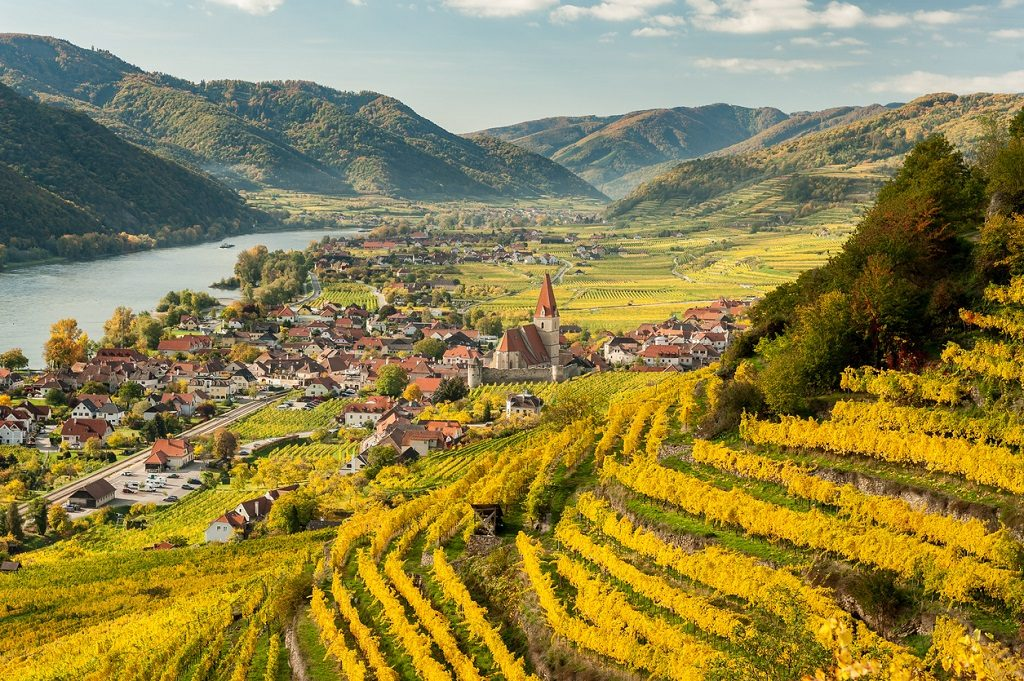 Weissenkirchen Wachau Austria in autumn colored leaves and vineyards on a sunny day