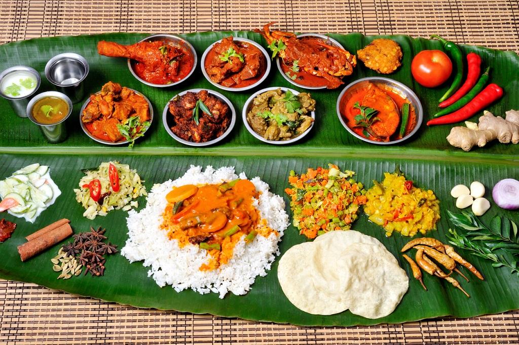 Traditional food on banana leaf