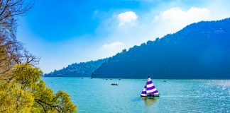 Nainital Lake, a natural freshwater body, situated amidst the township of Nainital in Uttarakhand State of India.