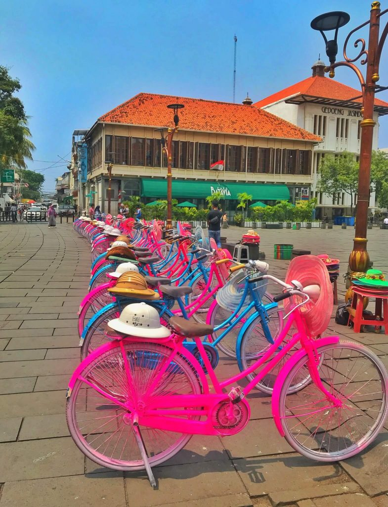 Bright coloured cycles for rent in Old Town, Kota Tua, Jakarta