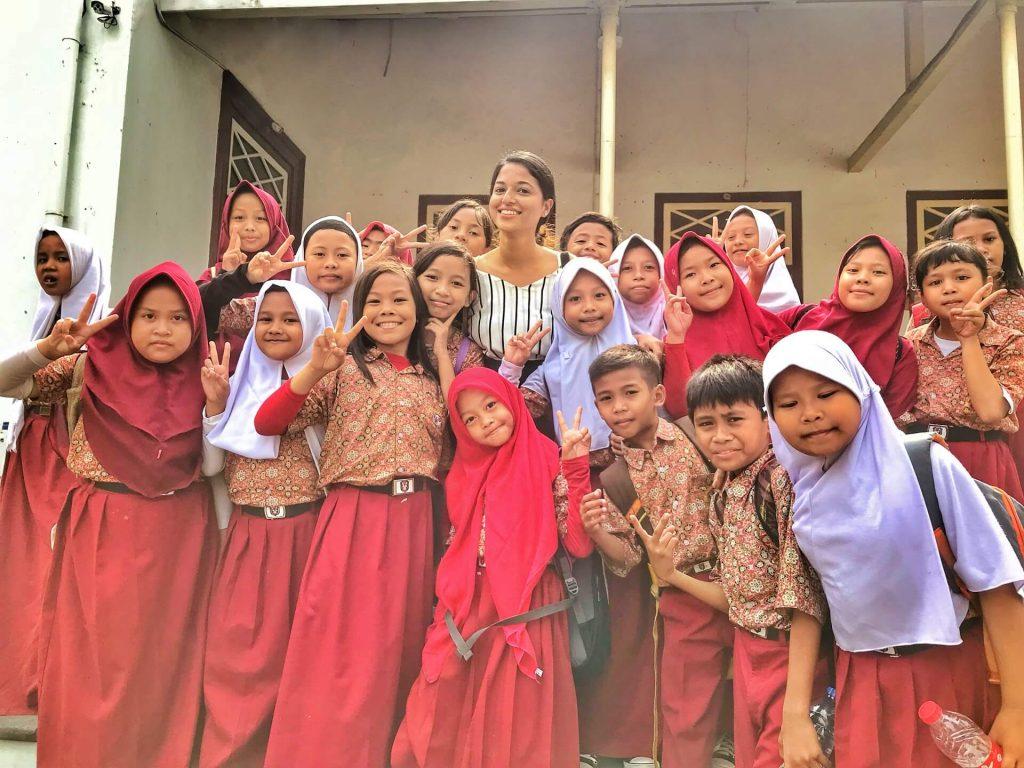 Curious school kids in Jakarta