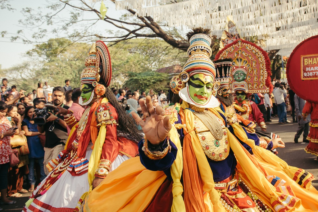 Traditional Kathakali dance on New Year carnival, Onam, traditions in India