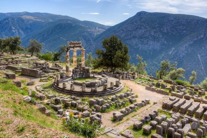 View of the Tholos at the sanctuary of Athena Pronaia, Delphi, Phocis, things to do in Greece