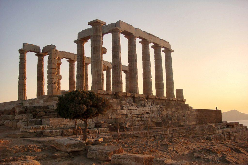 the ancient temple of Poseidon. Cape Sounion, Attica, Athens, Greece, Hogwarts