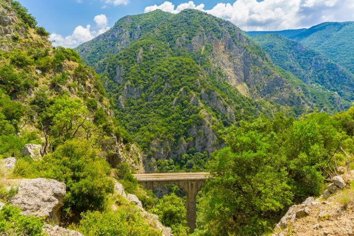 The old railway bridge of the Asopos river in Greece