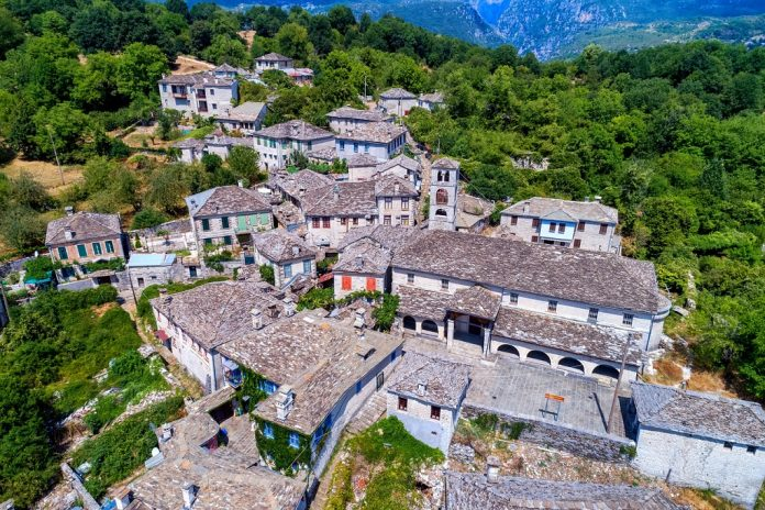 aerial view of old stone houses in the village Dilofo of Zagorochoria, Epirus, Western Greece