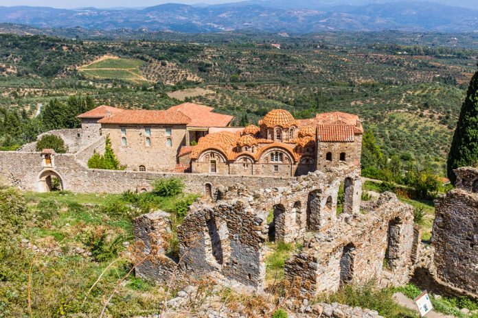 Byzantine church in medieval city of Mystras, Peloponnes, Laconia, Greece
