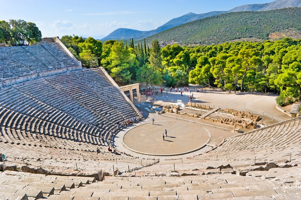 , Architecture Lovers, The stone amphiteater in Epidaurus is the fine example of the ancient greek architecture, Epidavros, Greece.