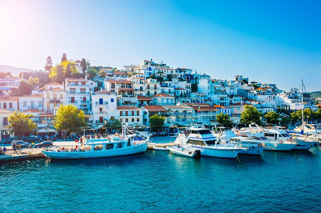 Skiathos town, Skiathos island, Sporades, Greece in afternoon.