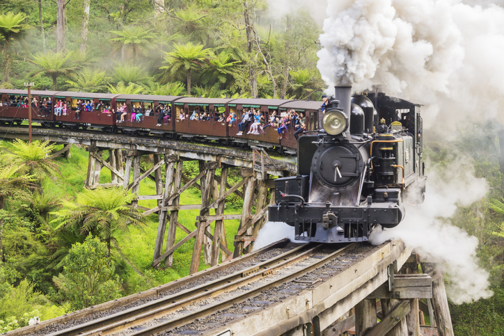 Puffing Billy, a century-old tourist steam train, crosses a trestle bridge in the Dandenong Ranges.