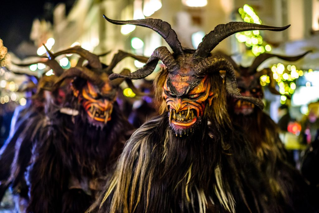 Bad Toelz, Germany - December 9, 2017: traditional krampuslauf in Bad Toelz, Germany. The Krampus is in the tradition of a fright figure in the company of St. Nicholas. He is a figure of Advent Advent in the Eastern Alps, in southern Bavaria and the Upper Palatinate, in Austria, parts of the Principality of Liechtenstein, Hungary, Slovenia, Slovakia, the Czech Republic, South Tyrol, Welschtirol (Trentino), parts of the northern northern and northern parts of Croatia and parts of Croatia. While Nicholas presents the good children, the naughty ones are punished by the Krampus.