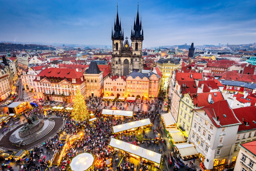 Prague, Czech Republic. Christmas Markets in Stare Mesto old square, Tyn Church, Bohemia.